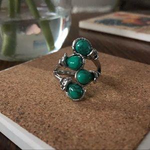 Southwestern Style Turquoise Silvertone Ring 10.5